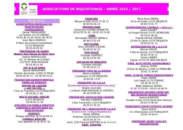 ASSOCIATIONS EN REQUISTANAIS – ANNÉE 2016 / 2017 ASSOCIATION FAMILIALE DU REQUISTANAIS COPRESIDENTS Daniel TREMOLIERES La ...