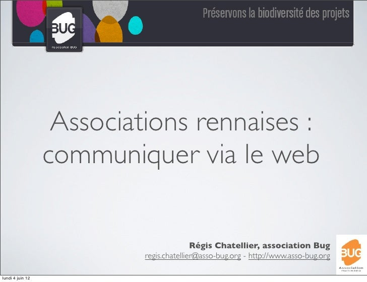 Associations rennaises :                  communiquer via le web                                          Régis Chatellier...
