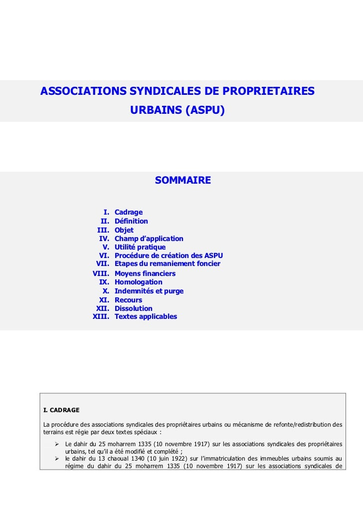 ASSOCIATIONS SYNDICALES DE PROPRIETAIRES                               URBAINS (ASPU)                                     ...