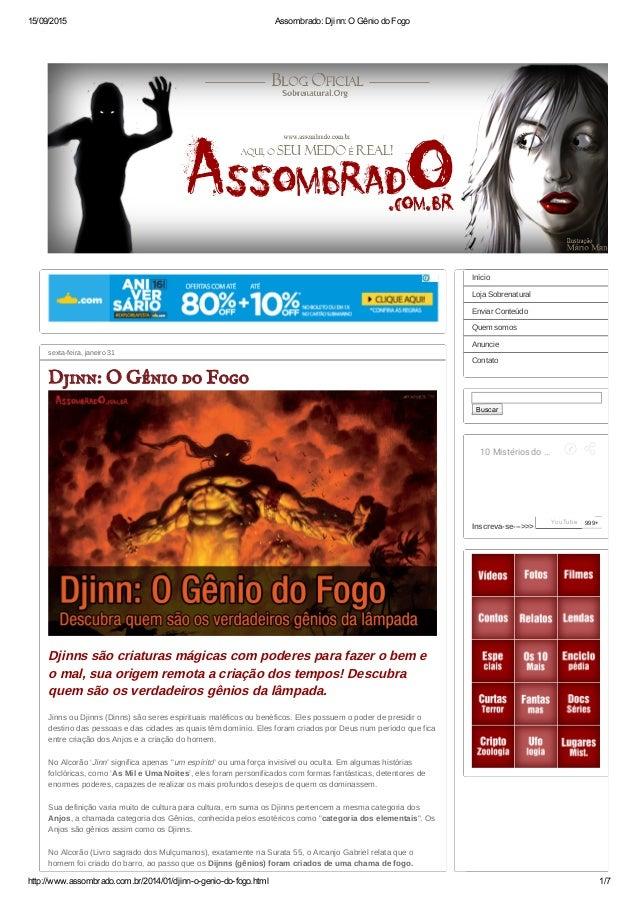 15/09/2015 Assombrado:Djinn:OGêniodoFogo http://www.assombrado.com.br/2014/01/djinnogeniodofogo.html 1/7 sextafe...