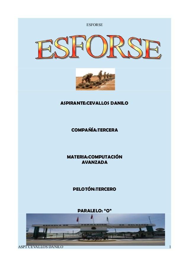 """ESFORSE ASPIRANTE:CEVALLOS DANILO COMPAÑÍA:TERCERA MATERIA:COMPUTACIÓN AVANZADA PELOTÓN:TERCERO PARALELO: """"O"""" ASPT CEVALLO..."""