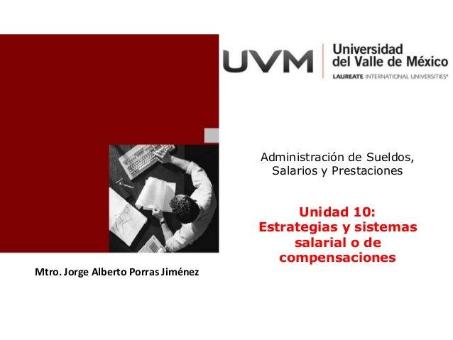 Mtro. Jorge Alberto Porras Jiménez Administración de Sueldos, Salarios y Prestaciones Unidad 10: Estrategias y sistemas sa...