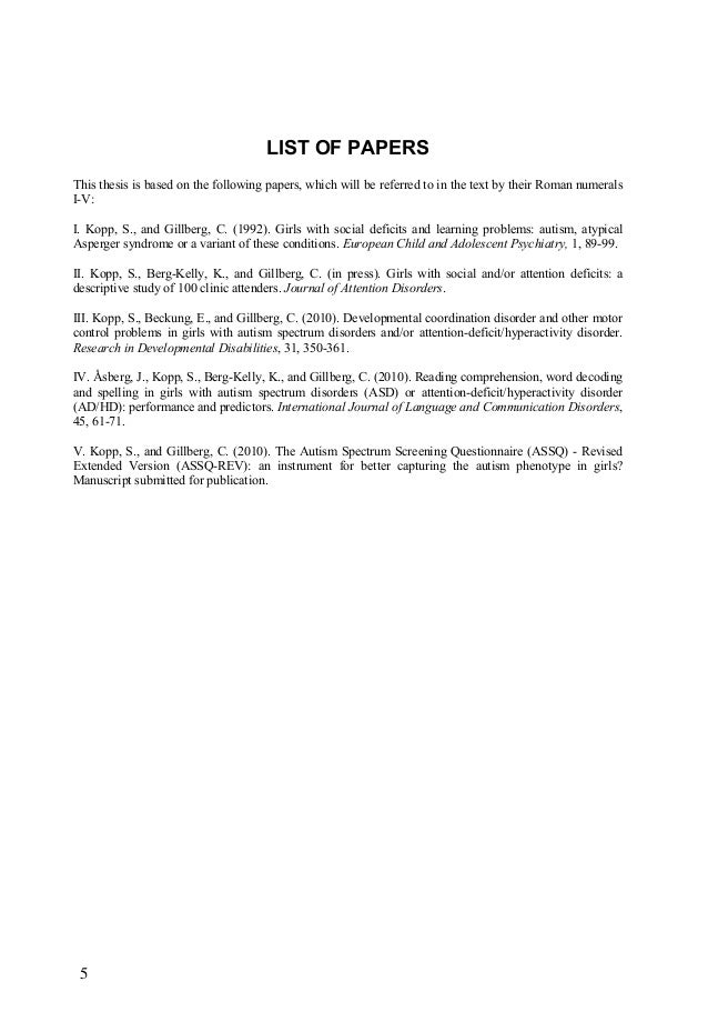 5 LIST OF PAPERS This thesis is based on the following papers, which will be referred to in the text by their Roman numera...