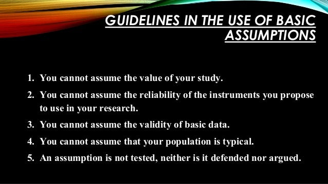 how to make an assumption in research