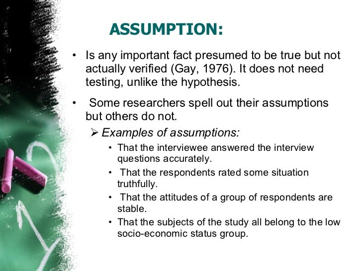 Assumptions of the study example