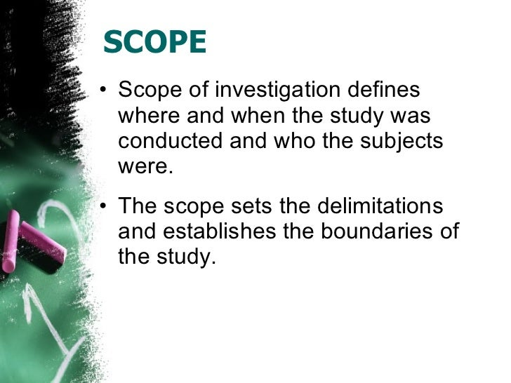 scopes and limitations in research paper Scope, limitations, and delimitations by marilyn k simon and jim goes includes excerpts from simon & goes (2013), dissertation and scholarly research: recipes for success seattle, wa: dissertation success llc find this and.