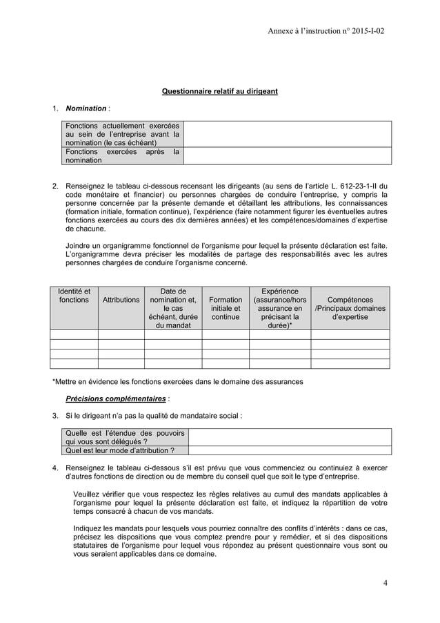 Annexe à l'instruction n° 2015-I-02 4 Questionnaire relatif au dirigeant 1. Nomination : Fonctions actuellement exercées a...