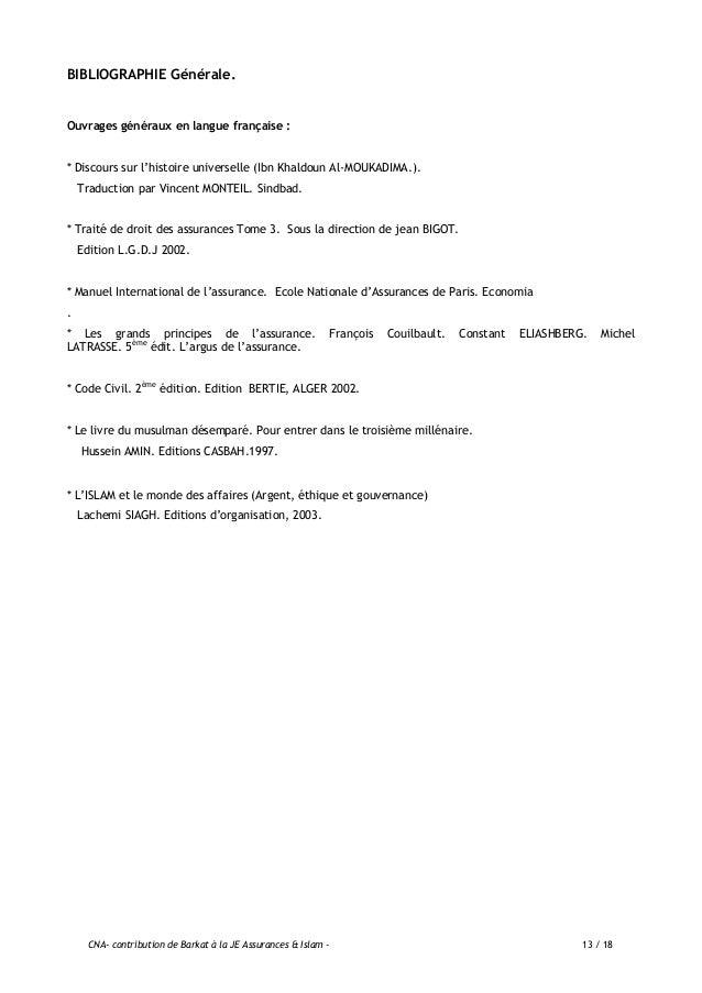 CNA- contribution de Barkat à la JE Assurances & Islam - 14 / 18 Articles et numéros spéciaux de revues / journaux : - Etu...