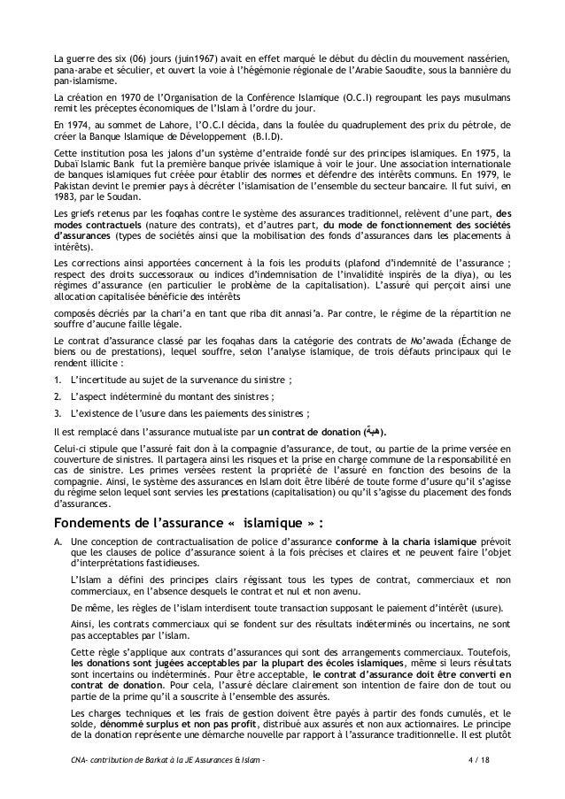 CNA- contribution de Barkat à la JE Assurances & Islam - 5 / 18 assimilable à l'assurance mutuelle. Dans les deux cas, le ...