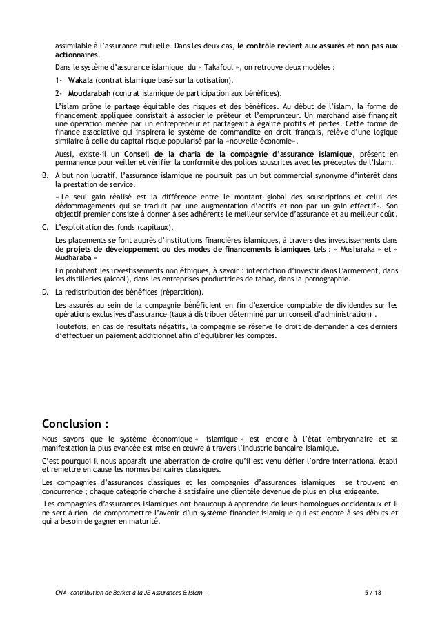CNA- contribution de Barkat à la JE Assurances & Islam - 6 / 18 ANNEXE .1 Comparaison entre « TAKAFUL » et l'Assurance cla...