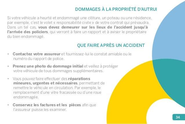 34  DOMMAGES À LA PROPRIÉTÉ D'AUTRUI  Si votre véhicule a heurté et endommagé une clôture, un poteau ou une résidence,  pa...