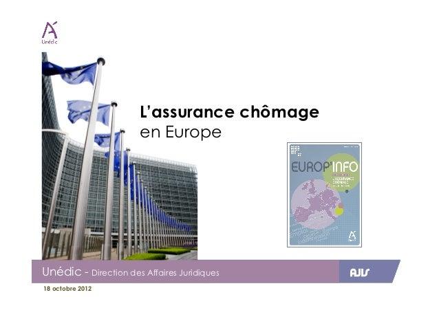 L'assurance chômage                       en EuropeUnédic - Direction des Affaires Juridiques   AJIS18 octobre 2012