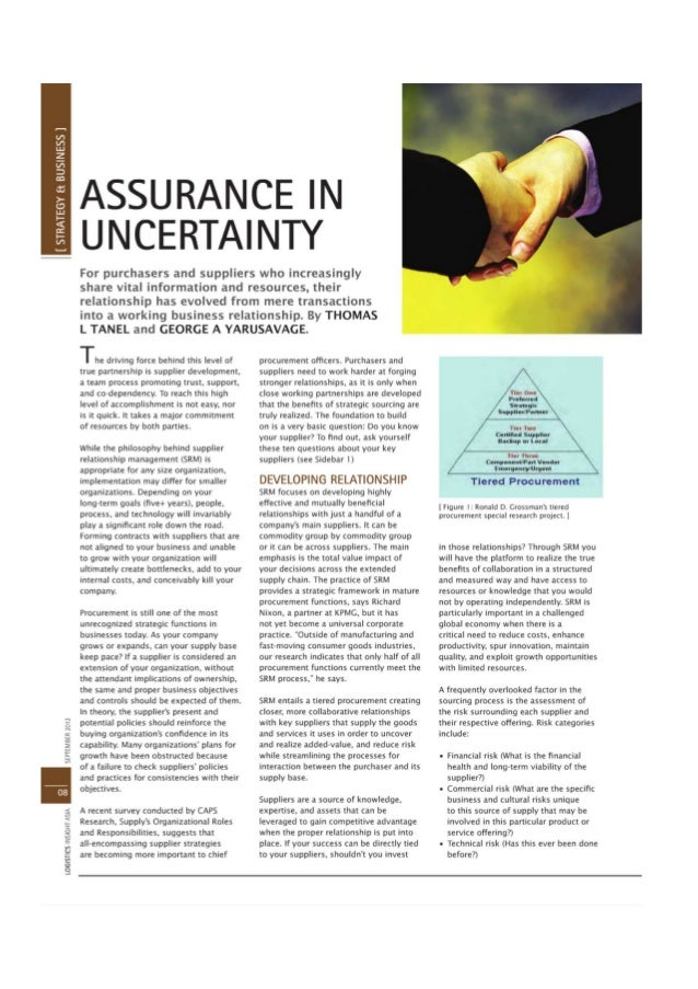 Assurance in uncertainty -logistics insight asia september 2012