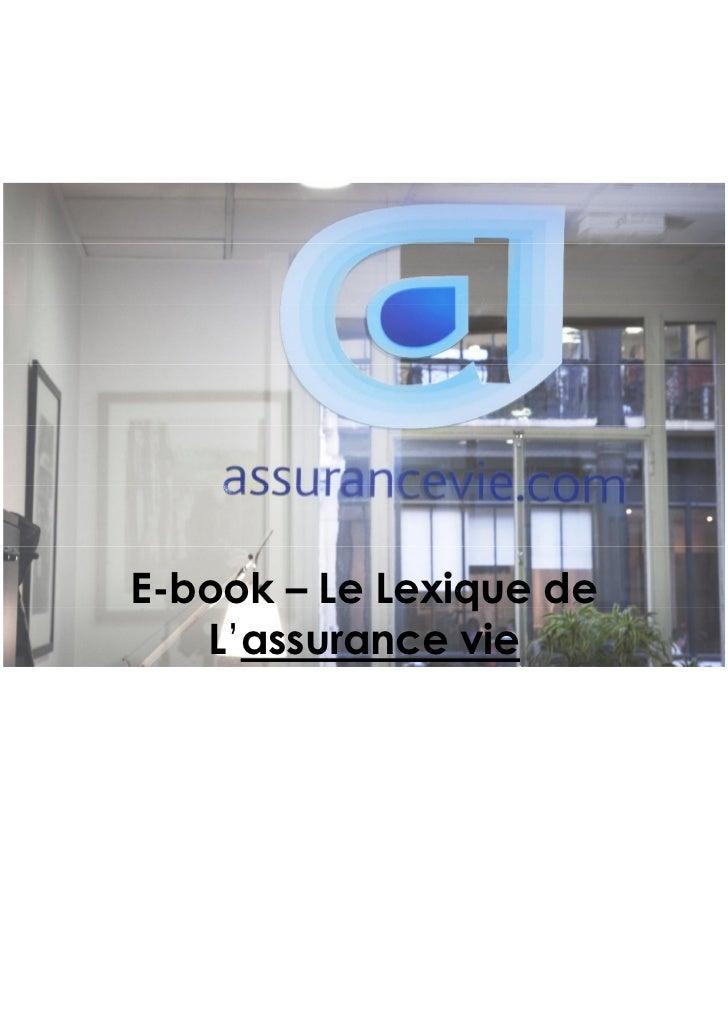 E-book – Le Lexique de   L'assurance vie
