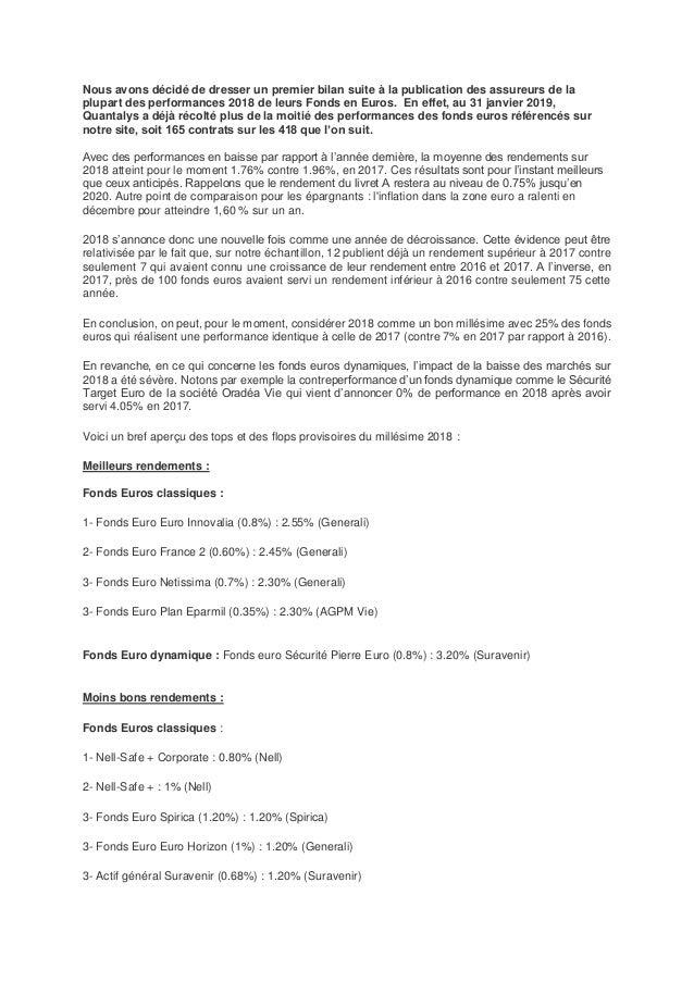 Nous avons décidé de dresser un premier bilan suite à la publication des assureurs de la plupart des performances 2018 de ...