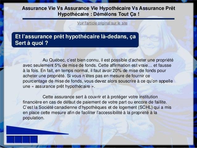 Assurance Vie Vs Assurance Vie Hypothecaire Vs Assurance Pret Hypothe