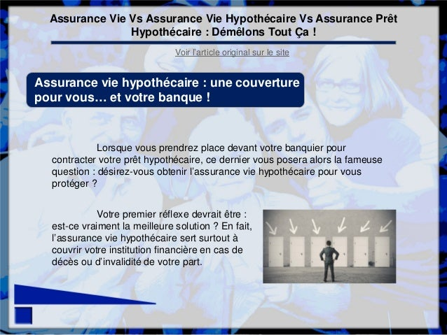 assurance vie vs assurance vie hypothecaire vs assurance pret hypothe. Black Bedroom Furniture Sets. Home Design Ideas