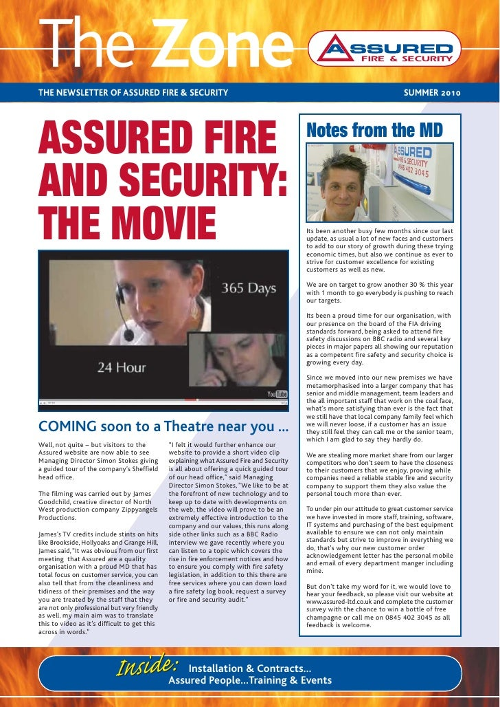 The ZoneTHE NEWSLETTER OF ASSURED FIRE & SECURITY                                                                         ...