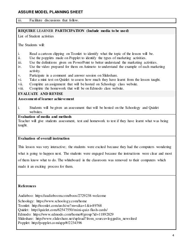 Assure Lesson Plan St Century - 21st century lesson plan template