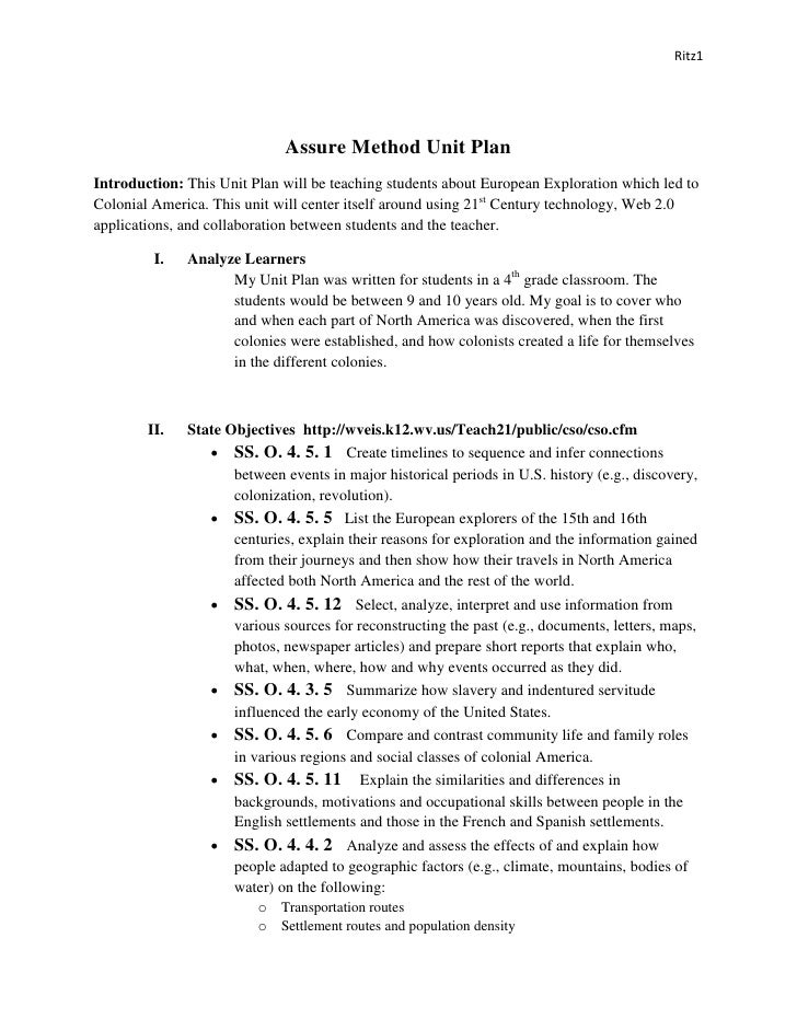 Ritz1                                  Assure Method Unit Plan Introduction: This Unit Plan will be teaching students abou...