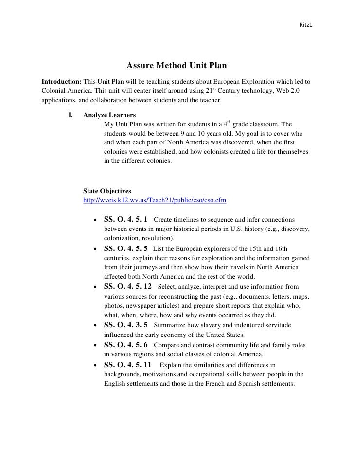 Ritz1                                   Assure Method Unit Plan Introduction: This Unit Plan will be teaching students abo...