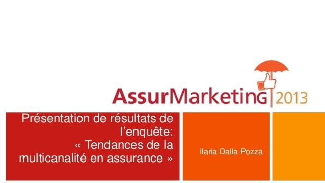 Présentation de résultats del'enquête:« Tendances de lamulticanalité en assurance »Ilaria Dalla Pozza