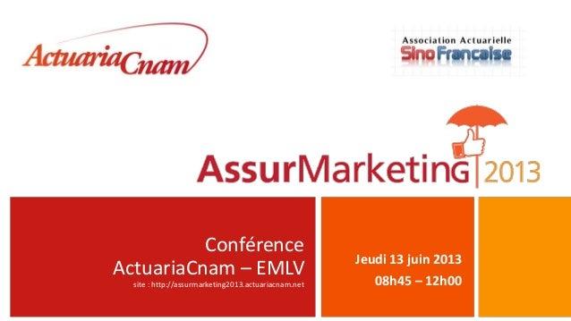 ConférenceActuariaCnam – EMLVsite : http://assurmarketing2013.actuariacnam.netJeudi 13 juin 201308h45 – 12h00
