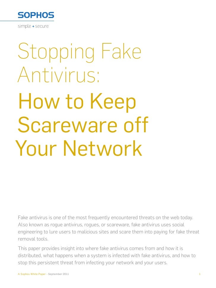 Stopping FakeAntivirus:How to KeepScareware offYour NetworkFake antivirus is one of the most frequently encountered threat...