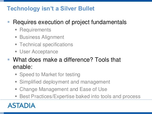 Technology isn't a Silver Bullet  Requires execution of project fundamentals  Requirements  Business Alignment  Techni...