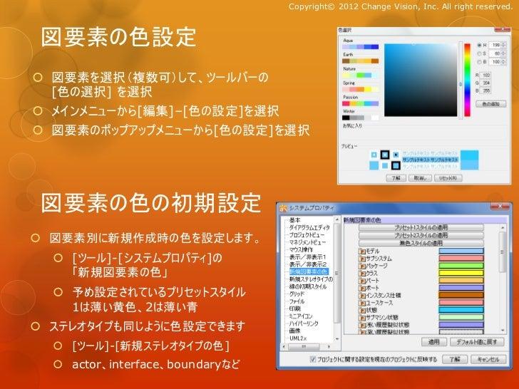 Copyright© 2012 Change Vision, Inc. All right reserved. 図要素の色設定 図要素を選択(複数可)して、ツールバーの  [色の選択] を選択 メインメニューから[編集]–[色の設定]を選択...