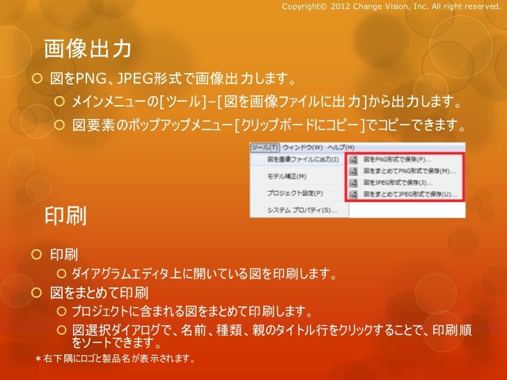 Copyright© 2012 Change Vision, Inc. All right reserved. 画像出力 図をPNG、JPEG形式で画像出力します。   メインメニューの[ツール]–[図を画像ファイルに出力]から出力します。...