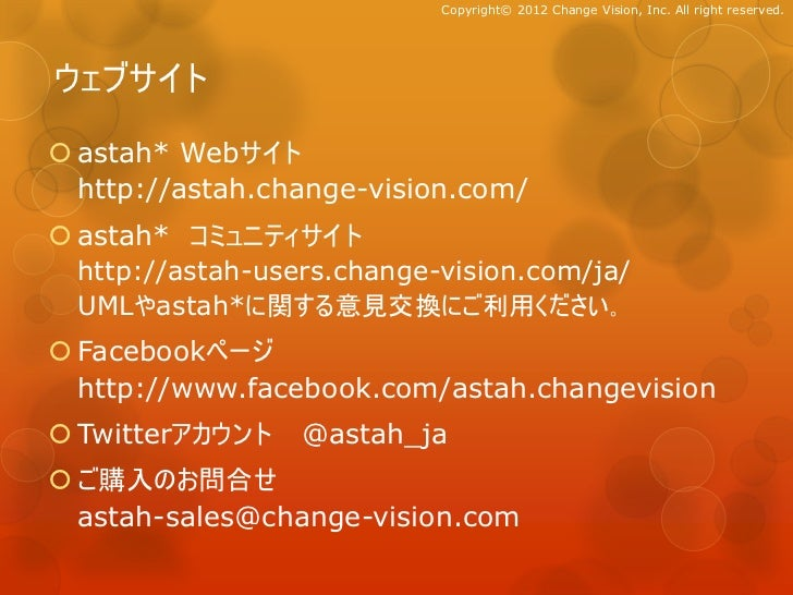 Copyright© 2012 Change Vision, Inc. All right reserved.ウェブサイト astah* Webサイト  http://astah.change-vision.com/ astah* コミュニ...