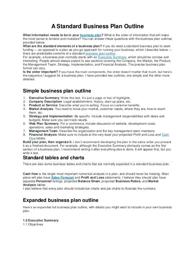 A Standard Business Plan Outline - Standard business plan template