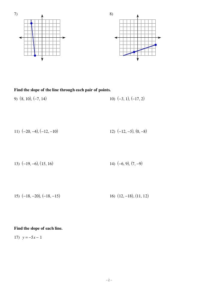 find the slope of a line worksheet - Termolak
