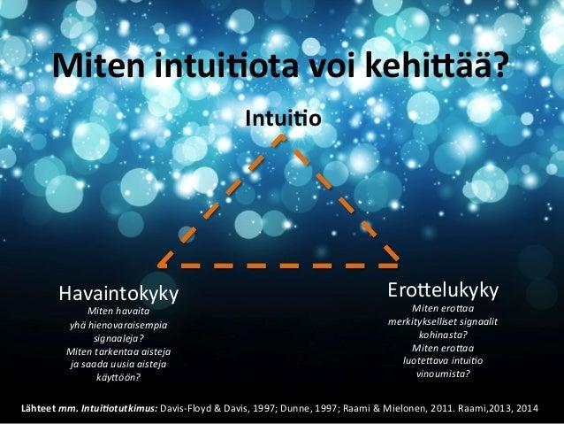 Miten  intui&ota  voi  kehi2ää?   Intui&o    EroDelukyky    Havaintokyky    Miten  ero#aa     merkityk...