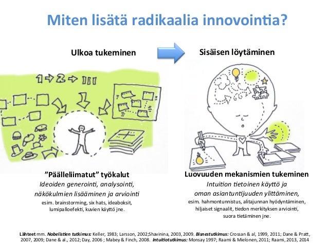 """Miten  lisätä  radikaalia  innovoin&a?   Ulkoa  tukeminen    """"Päälleliimatut""""  työkalut     Ideoiden  ..."""