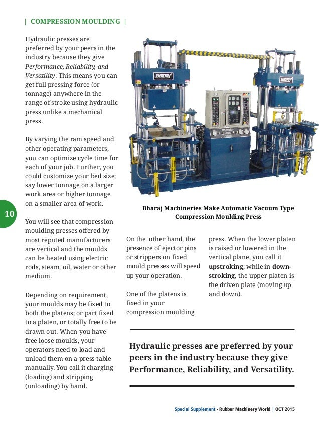   COMPRESSION MOULDING   Special Supplement - Rubber Machinery World OCT 2015  Advantages and Disadvantages of Compression...