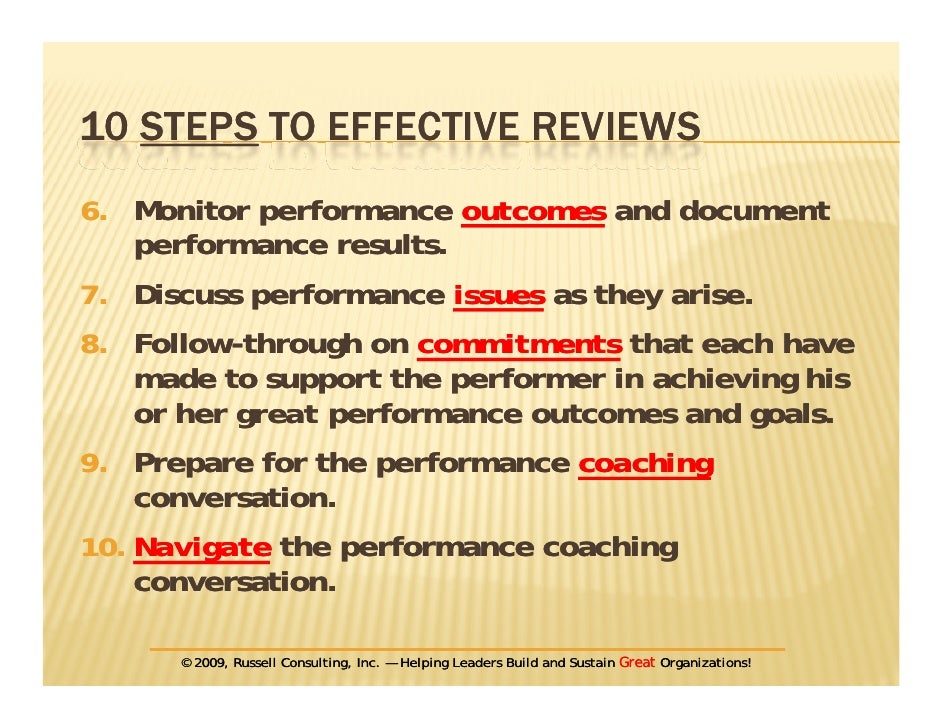 Steps To Performance Reviews