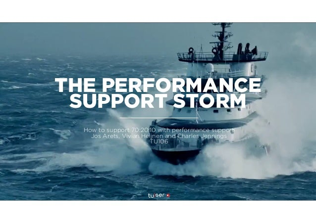 THE PERFORMANCE SUPPORT STORM How to support 70:20:10 with performance support Jos Arets, Vivian Heijnen and Charles Jenni...