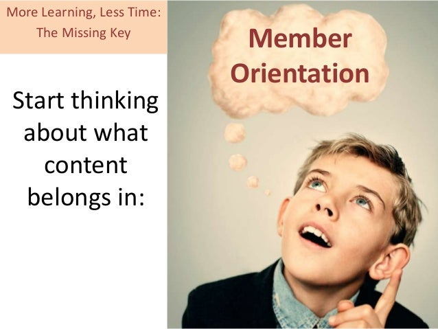 Start thinking about what content belongs in: Member Orientation More Learning, Less Time: The Missing Key