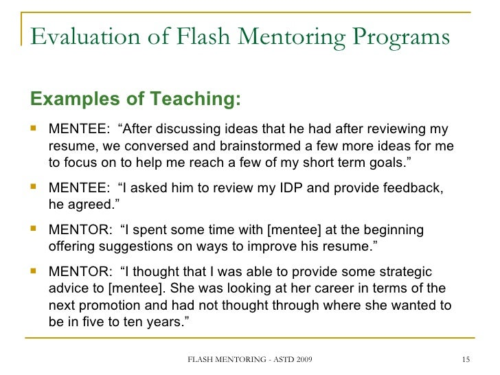 flash mentoring  transferring knowledge and experience in