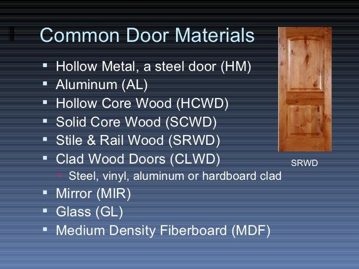 ... 17. Common Door Materials ... & The Door \u0026 Frame Schedule Pezcame.Com