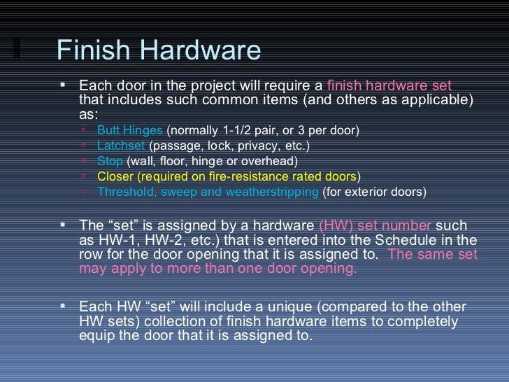 The Door Amp Frame Schedule