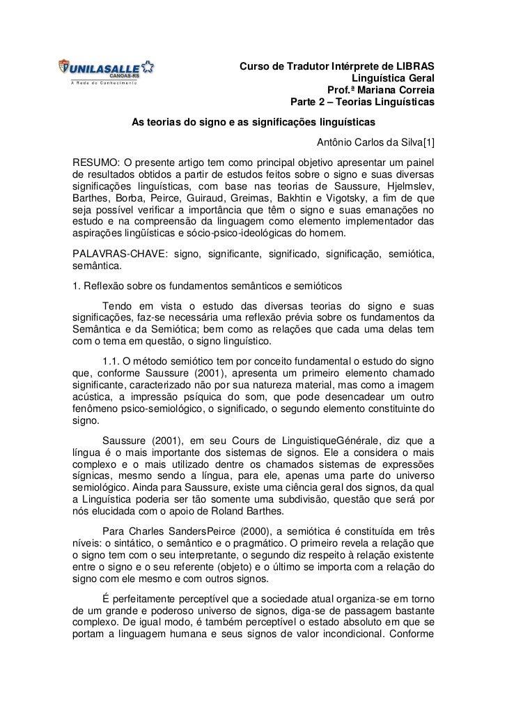 Curso de Tradutor Intérprete de LIBRAS                                                           Linguística Geral        ...