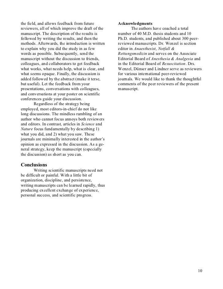 Scientific manuscript writing service