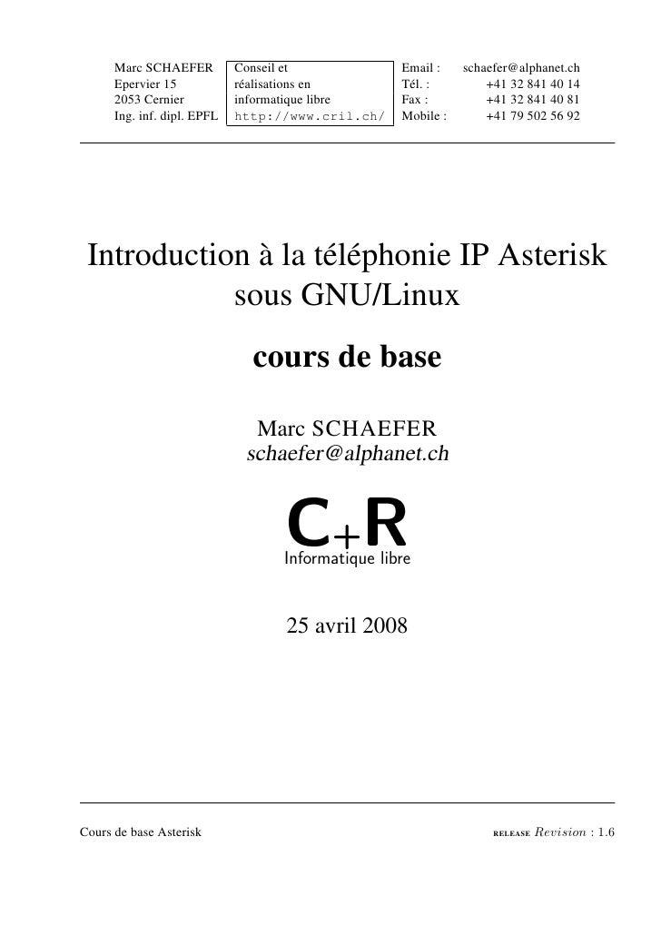 Marc SCHAEFER          Conseil et            Email :    schaefer@alphanet.ch      Epervier 15            réalisations en  ...