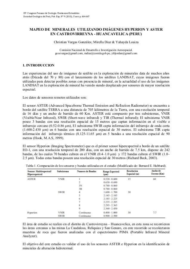 MAPEO DE MINERALES UTILIZANDO IMÁGENES HYPERION Y ASTEREN CASTROVIRREYNA - HUANCAVELICA (PERU)Christian Vargas Gonzáles; M...