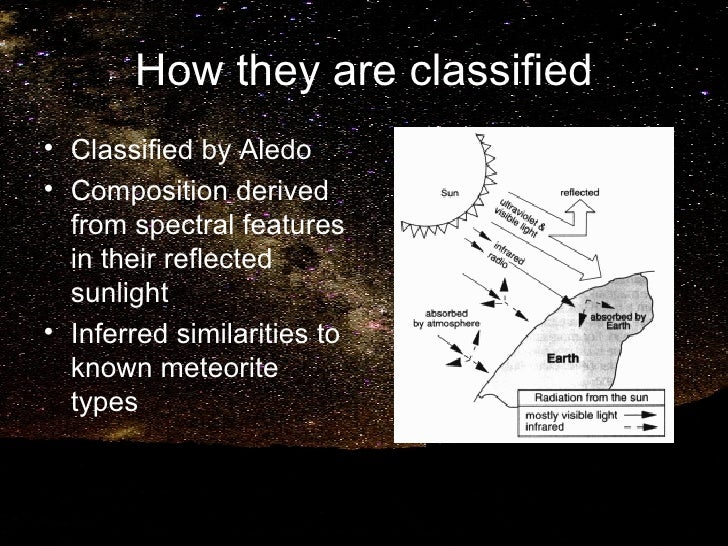 How they are classified <ul><li>Classified by Aledo </li></ul><ul><li>Composition derived from spectral features in their ...