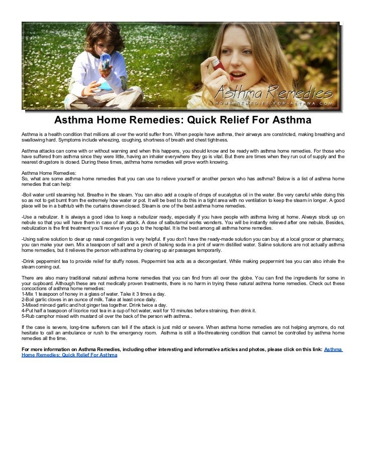 Asthma Home Remedies: Quick Relief For Asthma