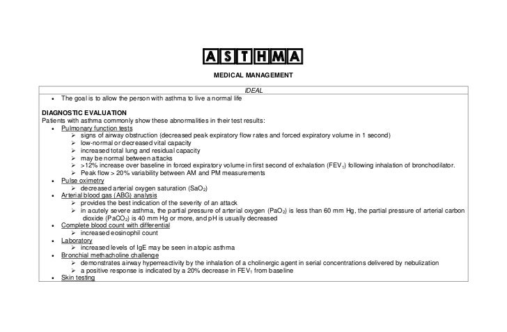 ASTHMA                                                             MEDICAL MANAGEMENT                                     ...